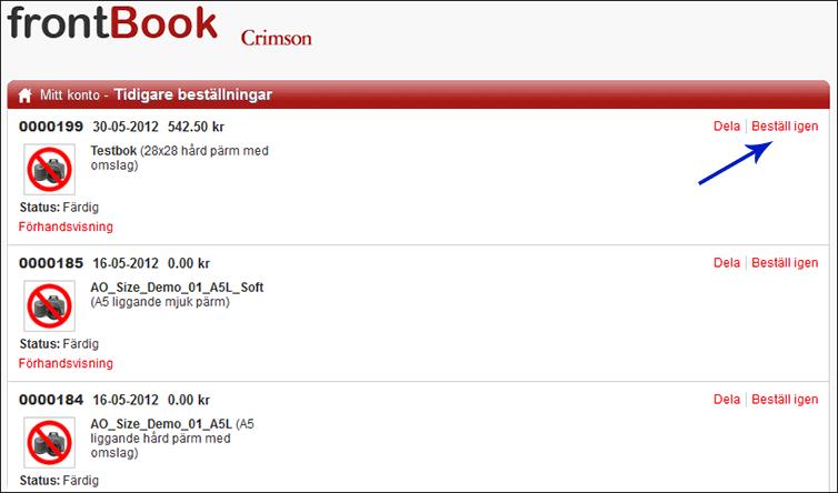 frontbook - Beställa igen