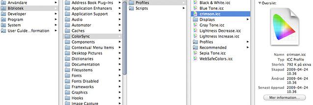 Installera ICC-profil - Mac