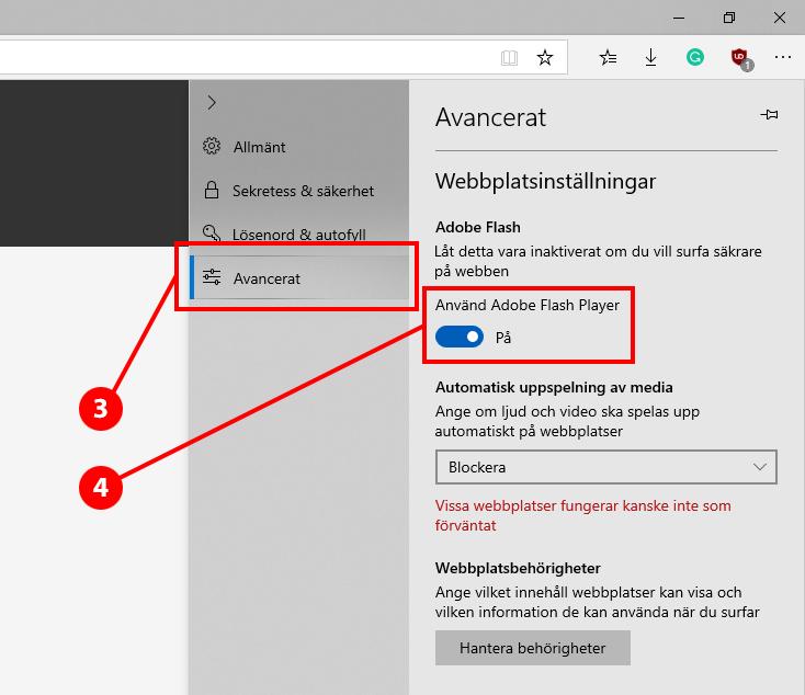 guide hur man aktiverar Flash i Microsoft Edge