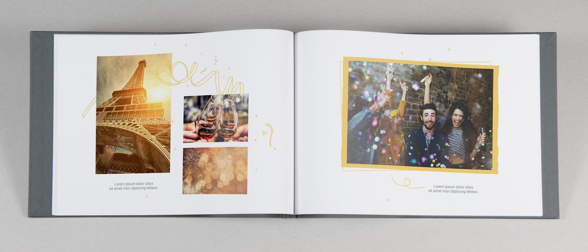 Fotobok med designat fest och födelsedagstema