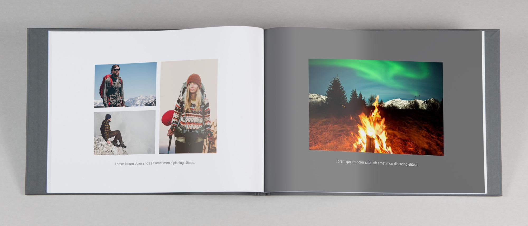 Uppslag av fotobok med enkel design