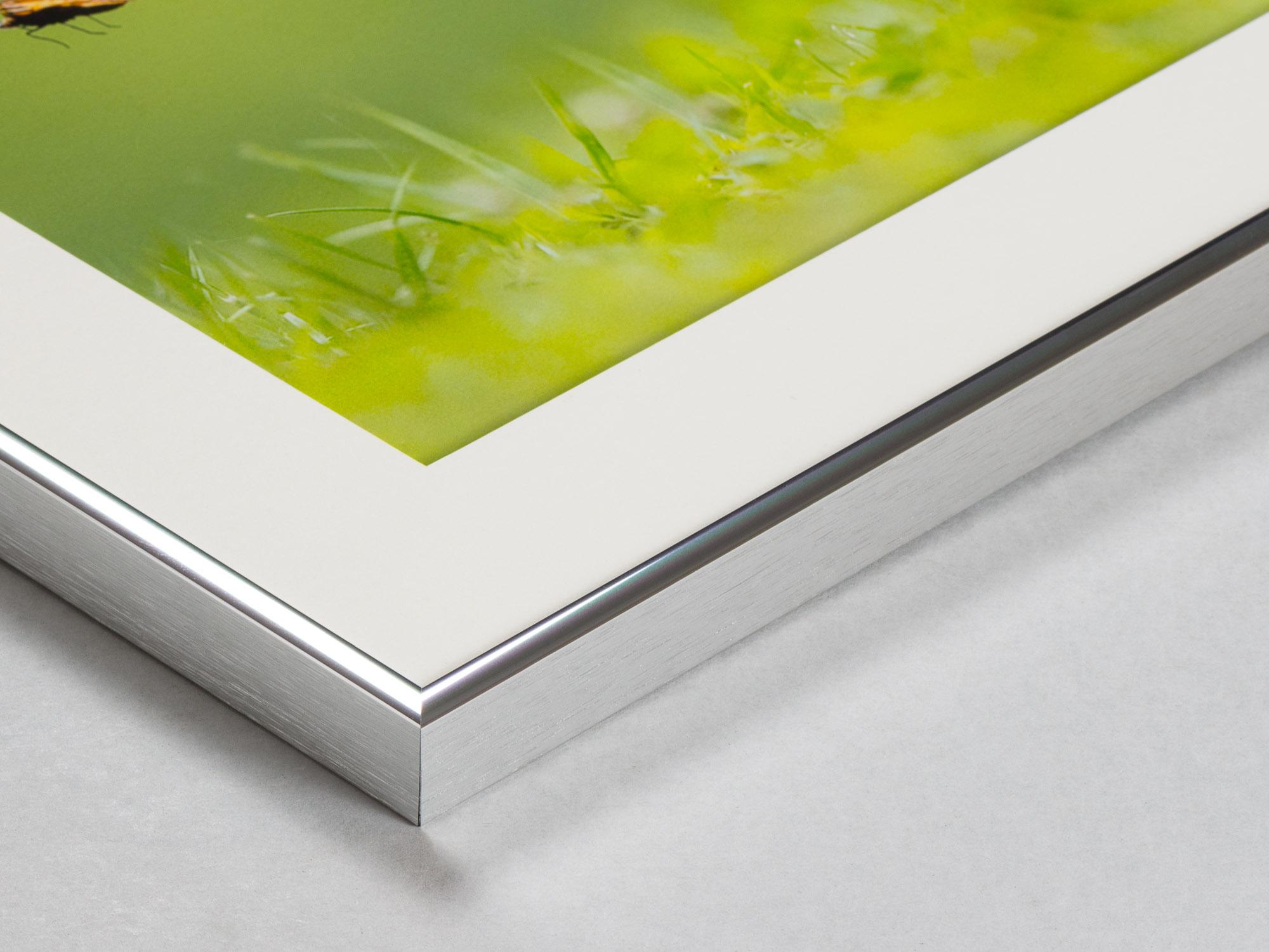 Inramning med aluminiumprofil, passepartout och fotografisk bild